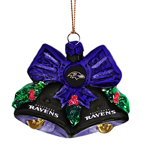 Baltimore Ravens Decorations - NFL Baltimore Ravens Glitter Bells Ornament