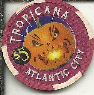($5 tropicana 2000 halloween atlantic city new jersey casino chip)