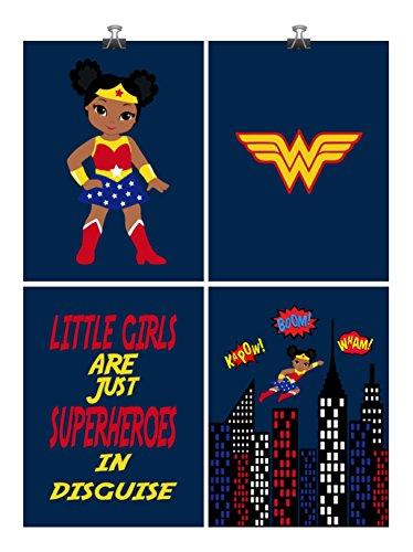 African American Superhero Nursery Art Print Set of 4 - Little Girls Are Just Superheroes In Disguise - Multiple Sizes