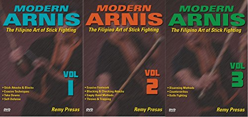 3 DVD Set Modern Arnis Filipino Stick Fighting empty hands, weapons