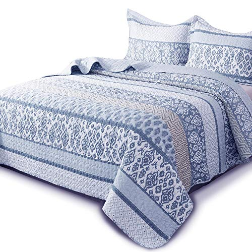 DOMDEC Printed Quilt Mini Set 3-Piece Coverlet Set Pre-Washed Hypoallergenic(Printed Patchwork, Full/Queen + 2 Standard Shams)