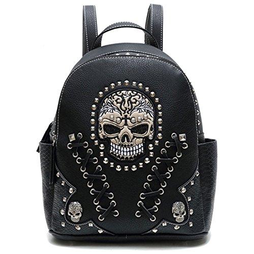 Women Leather Punk Skull Rivet Shoulder Bag Handbag - 3