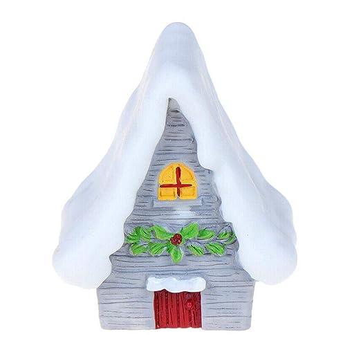 Escena de Nieve de Navidad Mini Resina Casa Decoración de Mesa ...