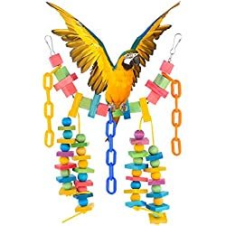 Bluelans Pet Bird Wooden Chew Toys Rainbow Bridge Colorful Parrot Swing Block Soft Chain