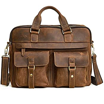 Image of Men's Premium Leather Briefcase Vintage 15.6 Inch Laptop Bag Briefcases