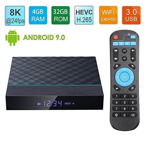 LAYZYX TV Android 9.0 BOX, 3D 8K 24fps & 4K 60fps H.265, 4GB RAM 64GB ROM Quad-Core Dual WIFI 2.4G/5G BT 4.0 100M…