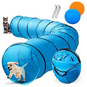 Topmart Dog Playing Tunnel 16.5ft Agility Pet Training Tunnel Tube with 2 Frisbees and Carry Bag for Cats Dogs Outdoor Training 42