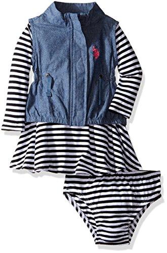 Polo Knit Pant Set (U.S. Polo Assn. Baby Girls' 2 Piece Vest and Knit Dress Set, Black, 24 Months)