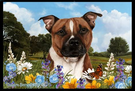 Best of Breed Pit Bull Terrier Summer Flowers Floor Mat