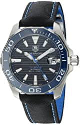 TAG Heuer Men's 'Aquaracr' Swiss Automatic Stainless Steel and Canvas Sport Watch, Color:Black (Model: WAY211B.FC6363)
