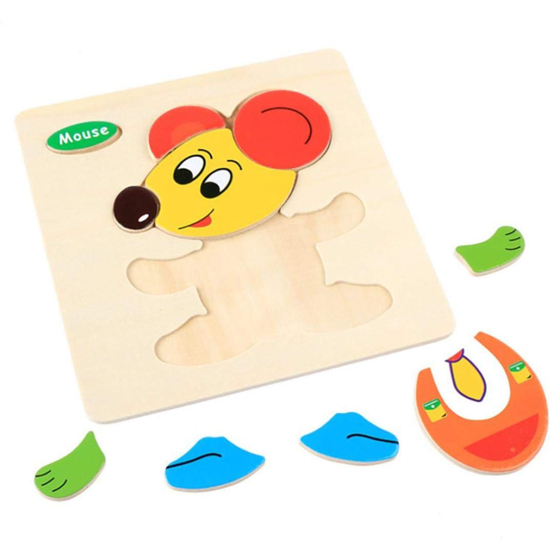 Gbell Wooden Jigsaw Board for Toddlers, Cute Animal Puzzle Toy Gift for 1-3 Year Old Preschool Baby Girl and Boy Kids