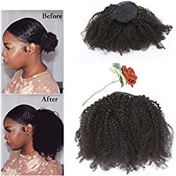 Lacer Afro Kinky Curly Human Hair Ponytail Hair Extensions 4B 4C Coily Natural Remy Curly Clip in Ponytail Extension One Piece For Black Women 10-20 inch (12 inch, Natural Black #1B)
