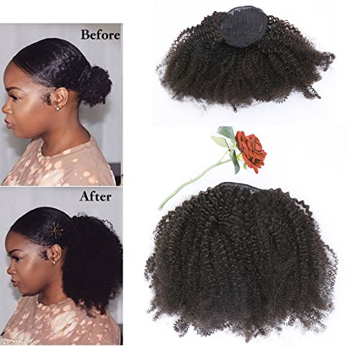 Beauty : Lacer Afro Kinky Curly Human Hair Ponytail Hair Extensions 4B 4C Coily Natural Remy Curly Clip in Ponytail Extension One Piece For Black Women 10-20 inch (12 inch, Natural Black #1B)