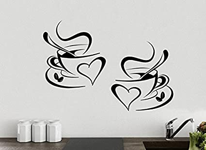 2x tazze da caffè da tè Cucina parete adesivo vinile decalcomania ...