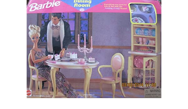 Amazon.com: Barbie DINING ROOM PLAYSET Can Be Used w FOLDING ...
