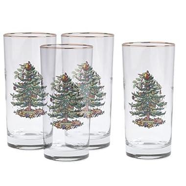 Spode Christmas Tree Hiball Glasses, Set of 4