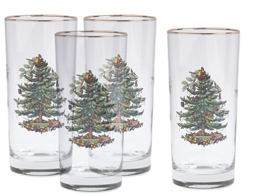 Spode Christmas Tree Dishwasher Safe - Spode Christmas Tree Hiball Glasses, Set of 4