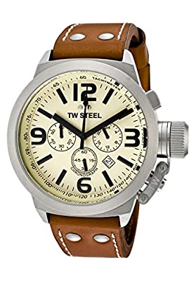 TW Steel Men's Canteen Chronograph Cream Dial Brown Leather by TW Steel
