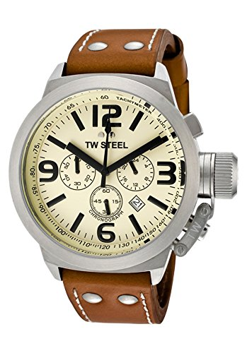 TW Steel Men's Canteen Chronograph Cream Dial Brown Leather