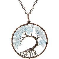 FANSING Jewelry The Tree Life Pendant Amethyst Crystal Gemstone Chakra Necklace Women & Girls