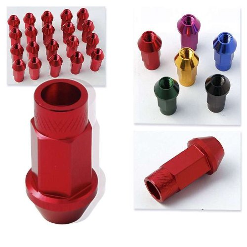 Godspeed 20 Pieces 12x 1.5mm Red Color Extended Aluminum Lug Nut Lugs 12x1.5mm Wheel Nut Nuts Fit All Lexus , Gs350 , Gs300 , Gs400 , Gs450 , Is250 , Altiza , Is300 , Is350 , Is300 Sportcross , Ls400 , Ls450 , Sc430 , Sc400 , Sc300