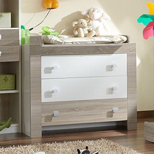 Chambre de bébé Commode Blanc - Chêne brut de sciage Table à ...