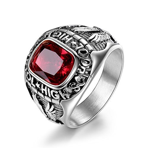 MASOP Vintage Red Stones Stainless Steel Mens Rings Engraved High School Flying Eagle Size 8 - Mens Class Rings