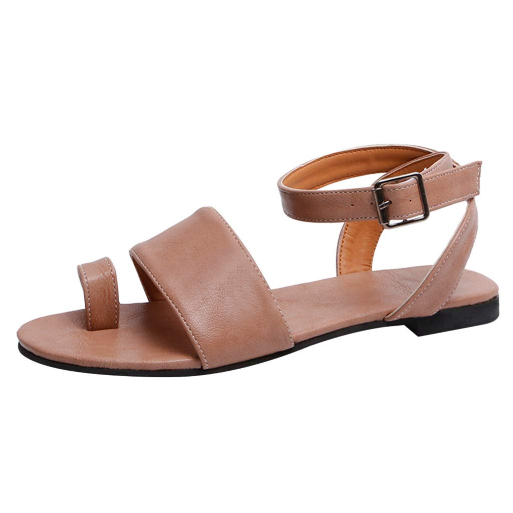ZOMUSAR Sandals Slippers, Women's Summer Open Toe Beach Breathable Flat Buckle Strap Sandals Rome Shoes Pink