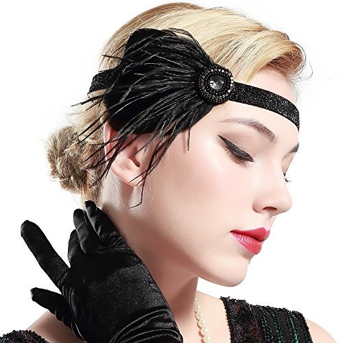 BABEYOND 1920s Flapper Headband 20s Great Gatsby Headpiece Black Feather Headband 1920s Flapper Gatsby Hair Accessories with Crystal]()