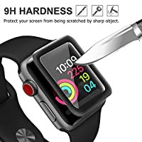 Elecsessory Watch Screen Protector 42mm(Series 3/2/1 Compatible), 3D Full Coverage, HD Anti-Bubble, Anti-Scratch,Tempered Glass Screen Protector for Iwatch 42mm Series 3/2/1 (Black) by elecsessory