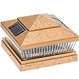 Garden Sun Light Solar 5 LED Post Cap Light for 6x6 PVC Posts w/ 5x5 Adapter (Antique Bronze)
