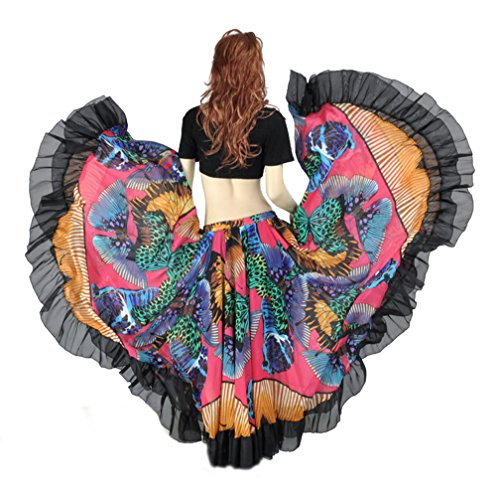 Belly Dance 25 Yard Tribal Gypsy Maxi Skirt Dress, Halloween Dancing Costume Skirt -