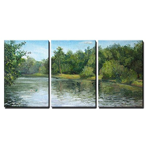 wall26 - 3 Piece Canvas Wall Art - Summer Landscape with Trees and Bushes, Oil Painting - Modern Home Decor Stretched and Framed Ready to Hang - 24