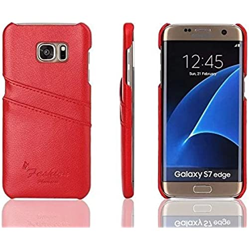 Galaxy S7 Edge Card Case, ZJtech Synthetic Leather Wallet Case, Ultra Slim Snap On Cover with Card Slots for Samsung Galaxy S7 Edge (Red) Sales
