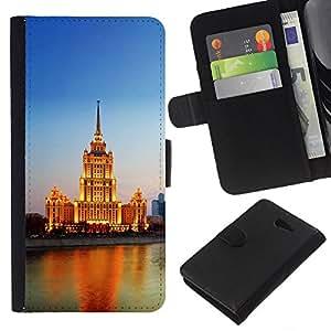 A-type (Iluminado Río Edificio) Colorida Impresión Funda Cuero Monedero Caja Bolsa Cubierta Caja Piel Card Slots Para Sony Xperia M2