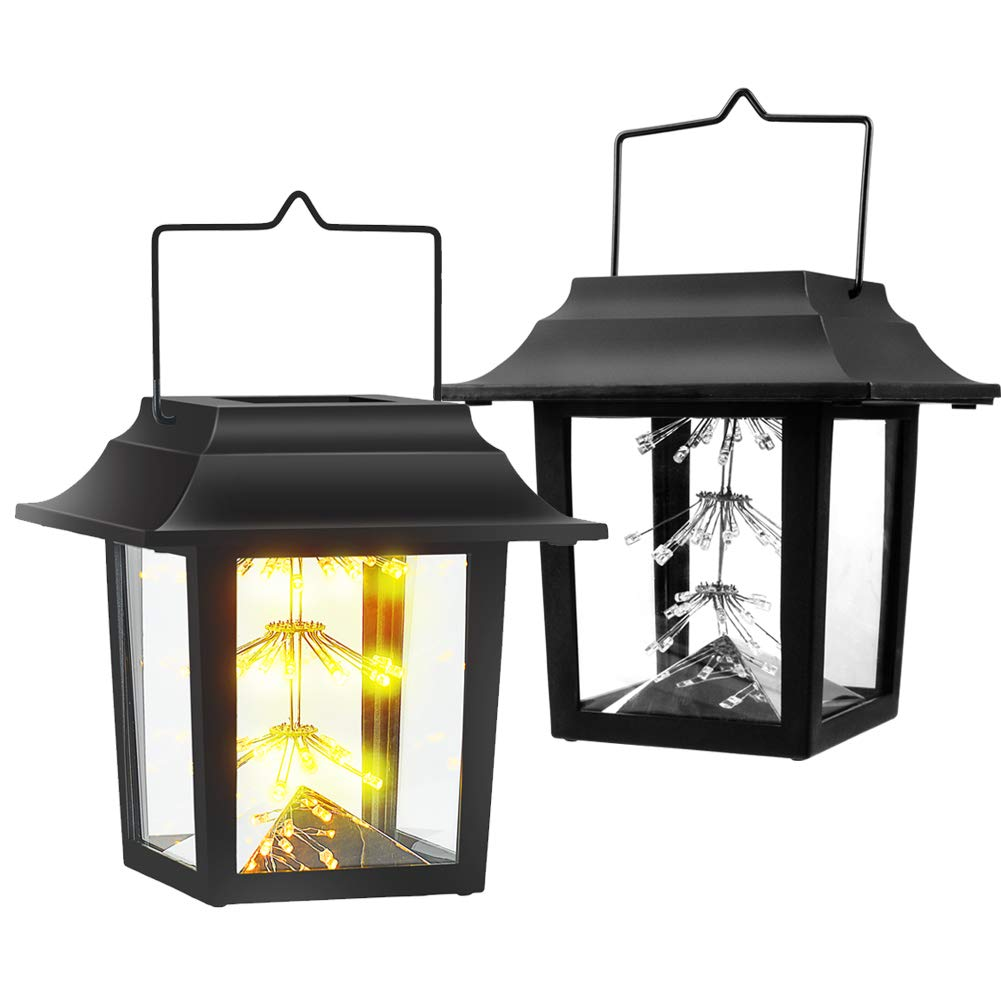 Hanging Solar Lights Solar Lanterns Outdoor Starry LED Lights Waterproof Landscape Lights with Stake Warm White Decoration Table Lamp Auto Sensor On Off for Garden,Yard, Pathway, Room (2 Pack)