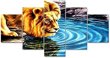 mmwin Decoración del hogar para niños Sala de Trabajo 5 Panel León Agua Potable Impresión en Lienzo Modular Poster ...