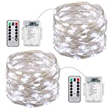 AMIR Led Fairy String Lights, 50 LED/16.4ft Starry Fairy Lights With Remote Control, 8 Modes Copper Wire Fairy Lights, for Bedroom, Garden, Wedding, Patio, Balconies, Boat Decks (White-Pack of 2)