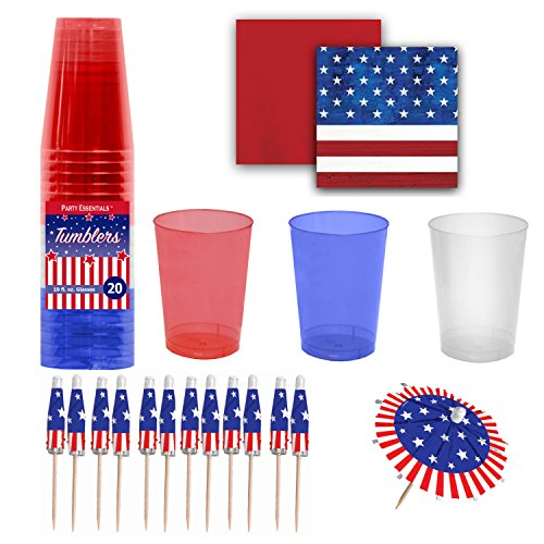 Patriotic Party Supply Set - Red, White & Blue Premium Plastic Cups with Coordinating Beverage Napkins & Jumbo Umbrella Cocktail Picks / Drink Stirrers - Patriotism Theme