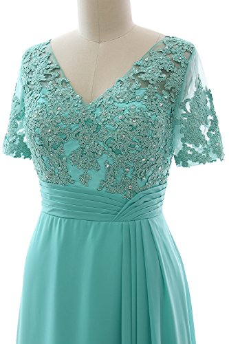 Lace the Dress Short Evening of Formal Gown Long Mother MACloth Plum Bride Sleeves qwIZ4fpxIB
