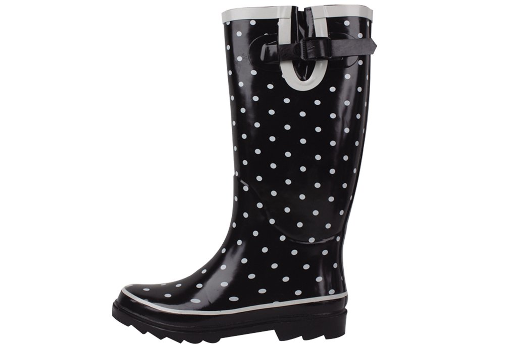 Sunville New Women's Rubber Rain Boots, Available in Multiple Styles,10 B(M) US,Black/Grey Polka Dot
