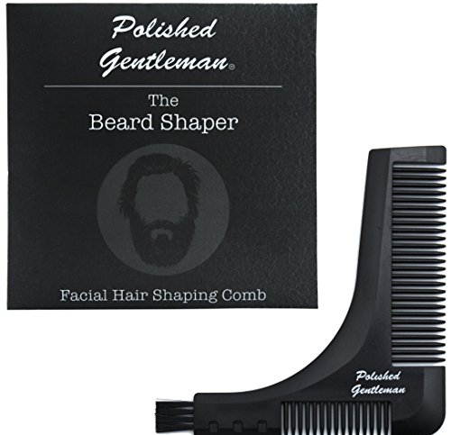 Full Beard And Mustache (All In One Beard Comb and Mustache Tool - Shape and Groom Facial Hair - Exact Edges - Trim Neckline, Cheeks, Sideburns, and Goatee - Portable and Durable - Full Beard Comb and Bristle Brush for Oil)