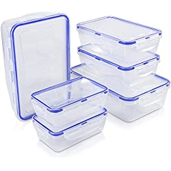Food Storage Containers with Lids-12 Piece Set(6 Containers and 6 Lids)[60Oz,31Oz,14Oz]Airtight Leak Proof Meal Prep Containers - BPA Free Plastic Food Containers - Freezer&Microwave&Dishwasher Safe