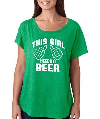 SignatureTshirts Women's Saint Patricks Day This Girl Needs A Beer Dolman T-Shirt (White Print) 2XL Green ()