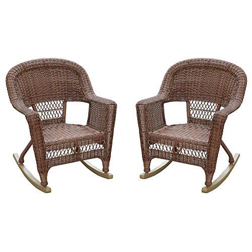 Jeco W00205R-C_2 Set of 2 Wicker Rocker Chairs, Honey