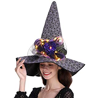 QinYing Purple Glittered Halloween Costume Witch Hat Curved Top with Lights with Purple Glittered Spider Witch Headwear for Halloween Dress Party Carnivals Cosplays Festival Decoration