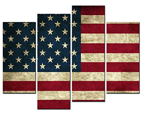 - SmartWallArt - American Flag of the United States Wall Decor Paintings,4 Panel Large Size the Stars and the Stripes USA National Flag Picture Print on Canvas for Home Decor (01: Stars and Stripes)