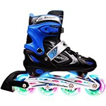 XinoSports Adjustable Inline Skates for Kids - Featuring All Illuminating Wheels, Awesome-looking, Safe and Durable Rollerblades,, Perfect for Boys and Girls, 60-day Guarantee!