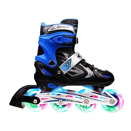 Adjustable Inline Skates for Kids, Featuring Illuminating Front Wheels, Awesome-looking, Comfortable, Safe and Durable Rollerblades, For Boys and Girls, 60-day Guarantee! (Boys In Line Skates)