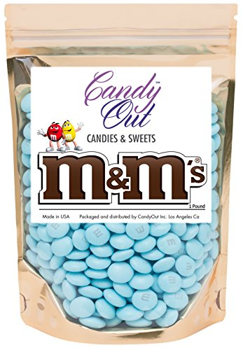 Light Blue m&m 1 Pound Milk Chocolate in CandyOut Sealed Stand Up Bag (Pink And Blue M&ms)